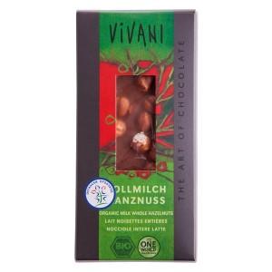 Organska Vivani čokolada lešnik mlečna -100g